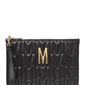 Moschino QUILTED CLUTCH:BLACK: leather authentic